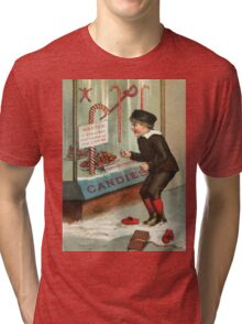 Wanted - A Boy To Lick Christmas Candy Cane Tri-blend T-Shirt