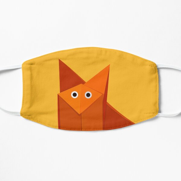 Yellow Geometric Cute Origami Fox Mask