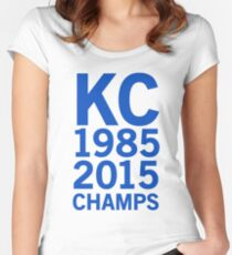 KC Royals 2015 Champions LARGE BLUE FONT Women's Fitted Scoop T-Shirt
