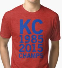 KC Royals 2015 Champions LARGE BLUE FONT Tri-blend T-Shirt