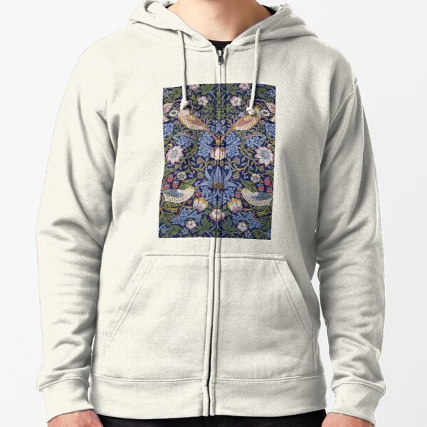 William Morris Strawberry Thief Design 1883  Zipped Hoodie