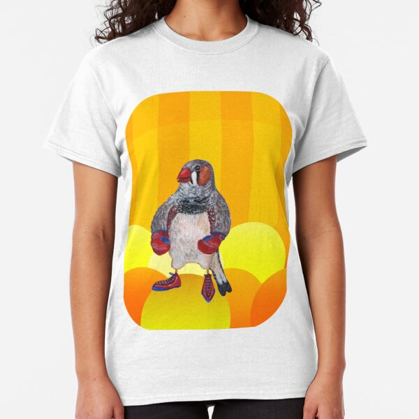 The Energetic Zebra Finch with Boxing Gloves Classic T-Shirt