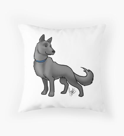 German Shepherd Black Throw Pillow