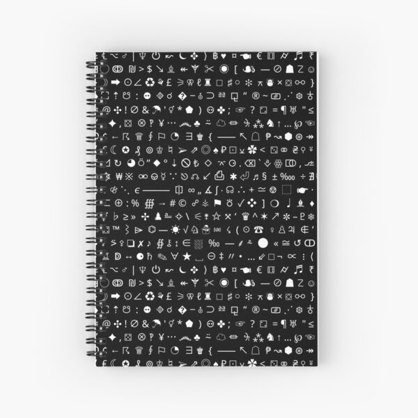 Esoteric symbols notebook - Unicode special characters - white/black Spiral Notebook