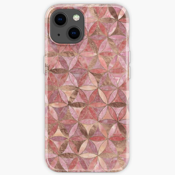 Flower of life pattern - Rose Quartz and gold iPhone Soft Case