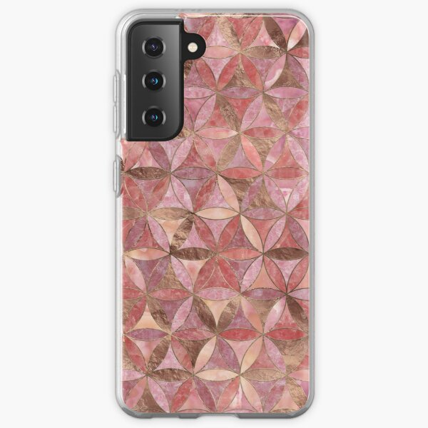 Flower of life pattern - Rose Quartz and gold Samsung Galaxy Soft Case