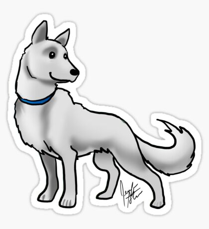 German Shepherd White Sticker