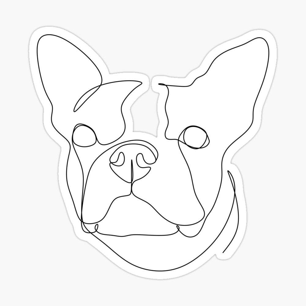 continuous line drawing of cute dog ...