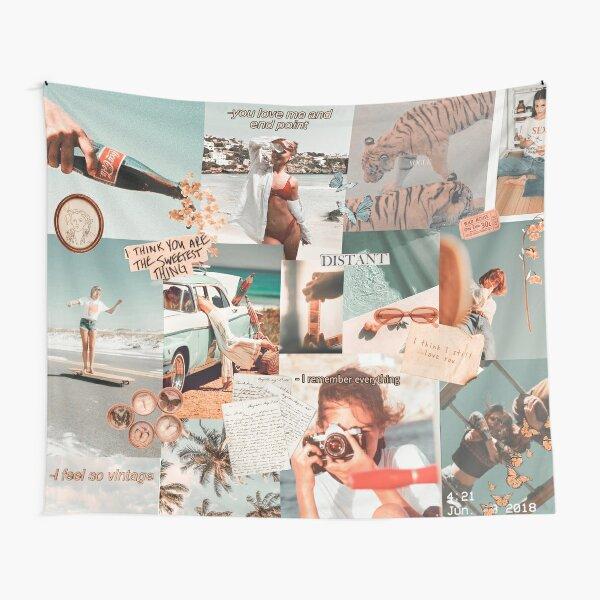 Vintage Beach Mood Board Tapestry