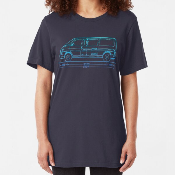 T4 Bus blue fade Slim Fit T-Shirt