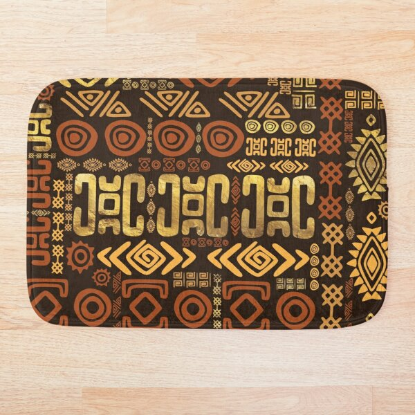 Ethnic African Pattern- browns and golds #11 Bath Mat