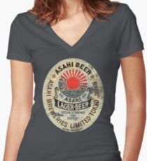 japanese beer Women's Fitted V-Neck T-Shirt