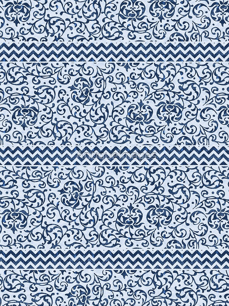 Damask Chevron Blue and White by AntiqueImages