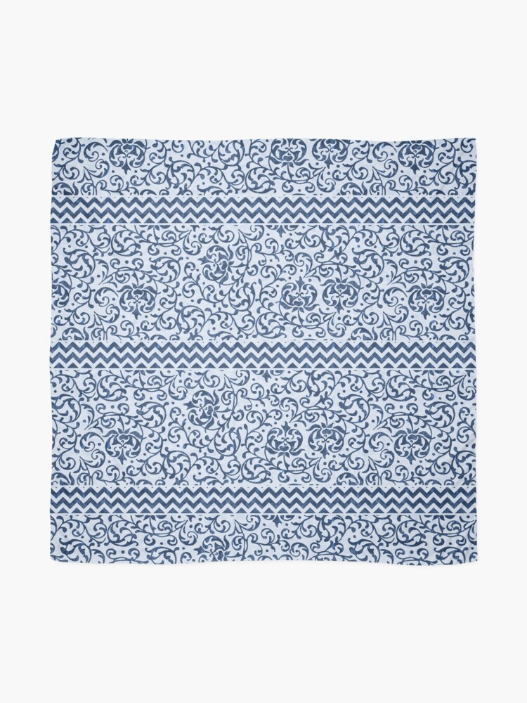Alternate view of Damask Chevron Blue and White Scarf