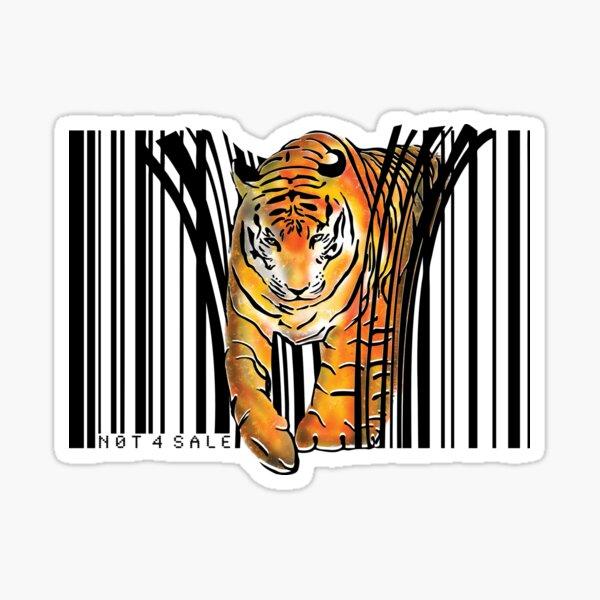 ENDANGERED TIGER BARCODE illustration print Sticker