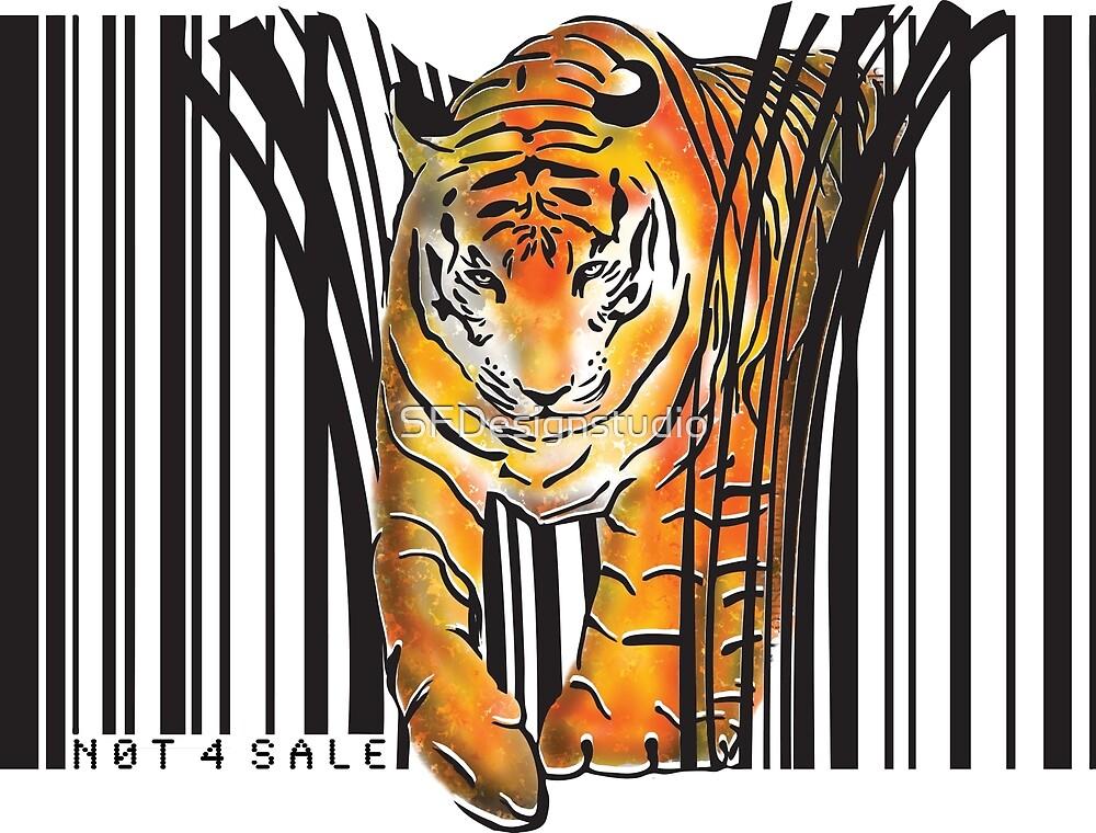 ENDANGERED TIGER BARCODE illustration print by SFDesignstudio