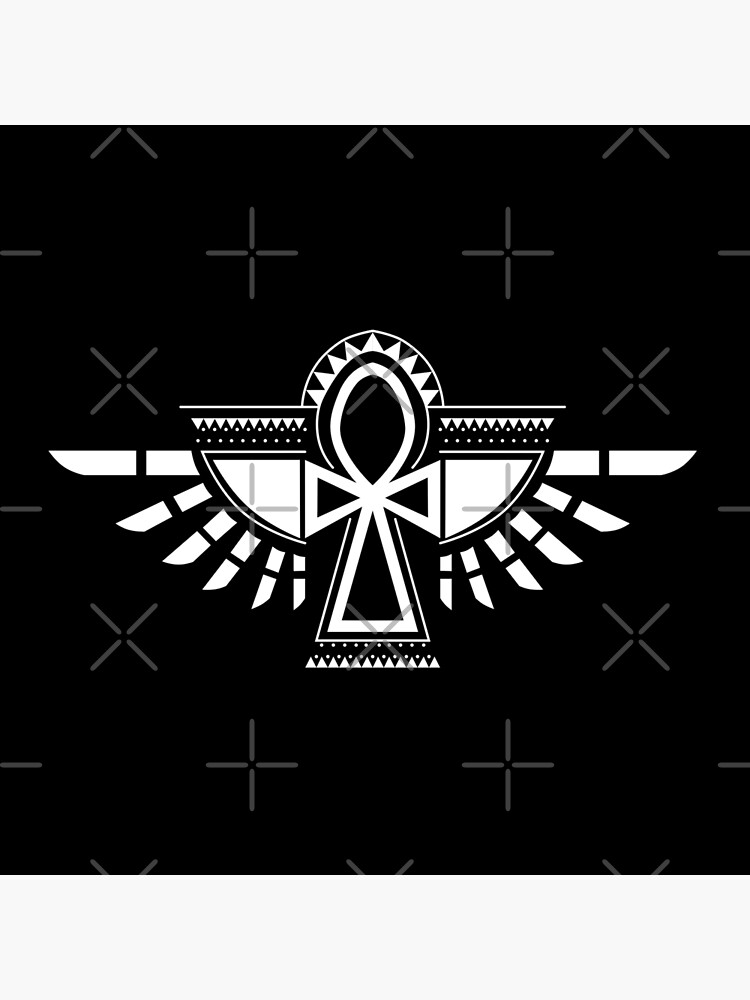 Winged Amulet of Life | Flying Ankh Tattoo White by Art-by-ANS