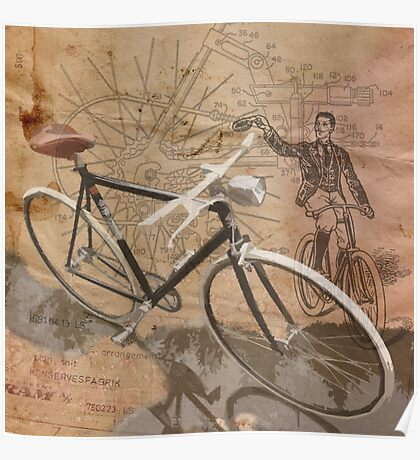 VINTAGE RETRO CYCLIST digital print Poster