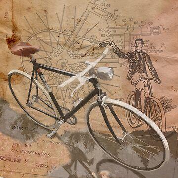 VINTAGE RETRO CYCLIST digital print de SFDesignstudio
