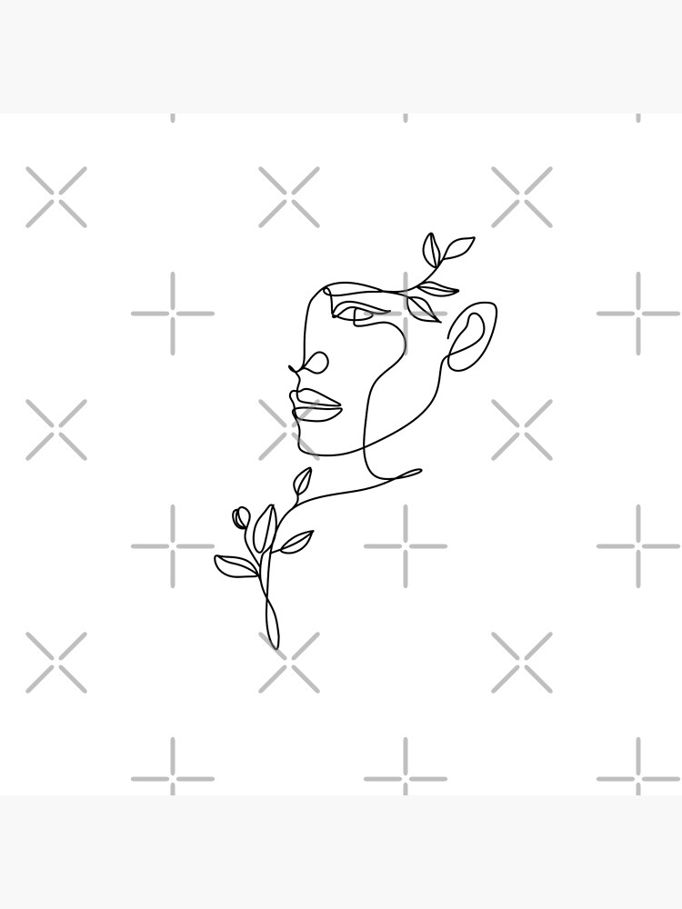 Nature woman head. Line art female face by OneLinePrint