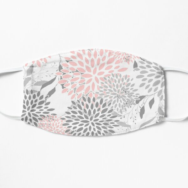 Floral Leaves and Blooms, Pink, Gray and White Mask
