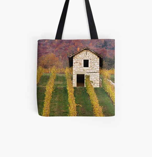 Autumn light in the vineyard All Over Print Tote Bag