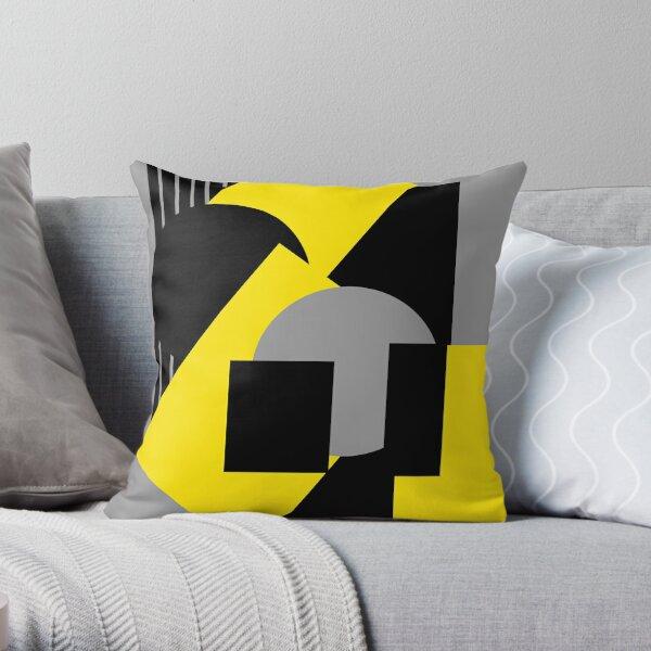 Abstracto geométrico art deco mash-up gris amarillo Cojín