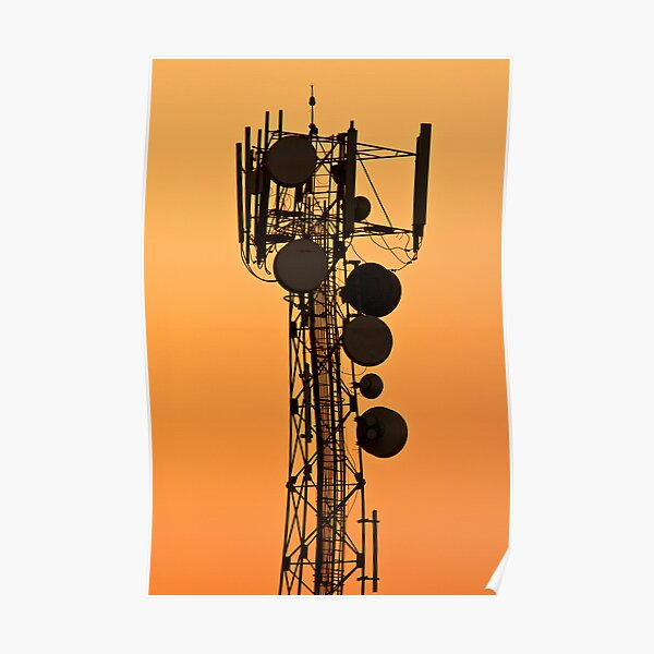 Mobile Tower Silhouette Poster