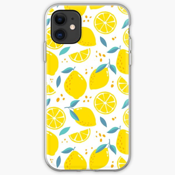 Modern Lemons Yellow on White pattern iPhone Soft Case