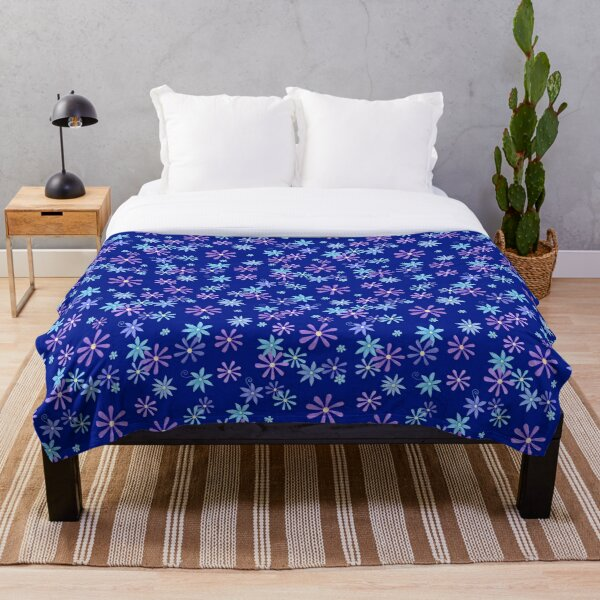 Navy Blue Forget me not Floral  Throw Blanket