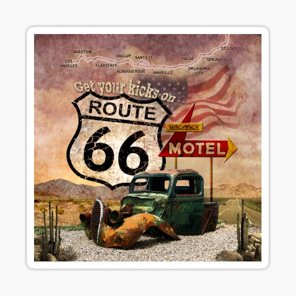 Get your Kicks on Route 66 Sticker