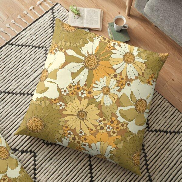 Brown, Orange, Ivory & Green Vintage Flower Pattern Floor Pillow