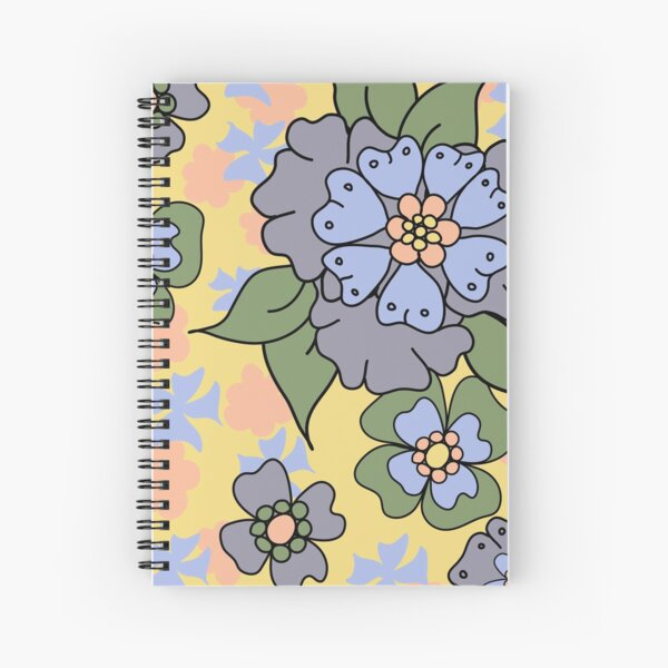 Flower Doodle LineArt Collection Seamless Surface Pattern Spiral Notebook