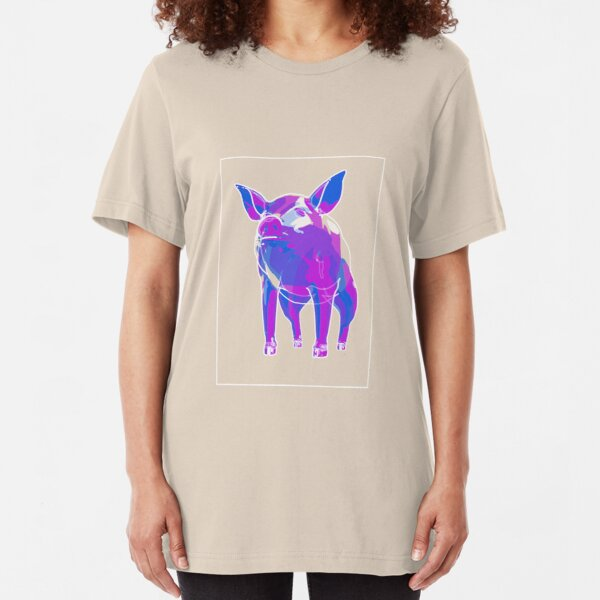 Pig Blue Purple F Slim Fit T-Shirt