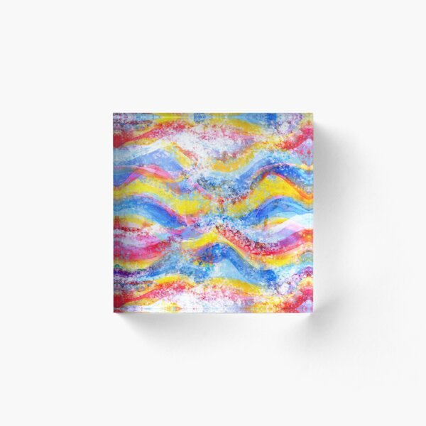 Rainbow waves watercolor Acrylic Block