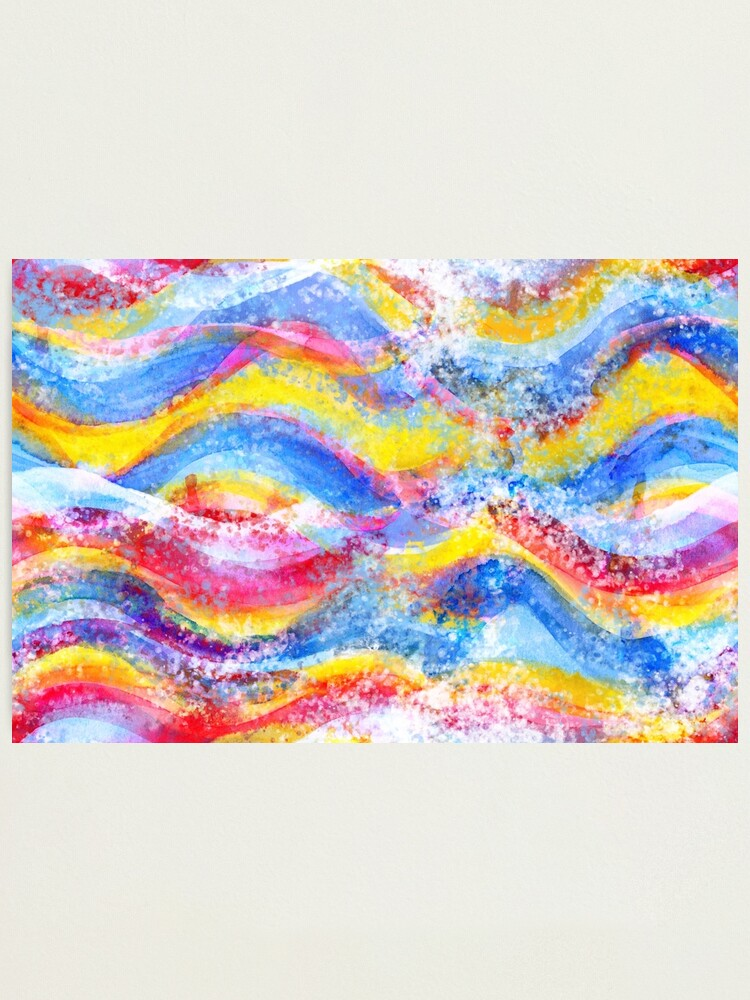 Alternate view of Rainbow waves watercolor Photographic Print