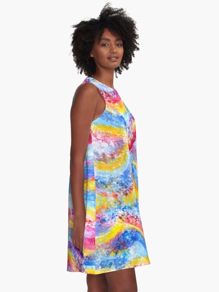 Alternate view of Rainbow waves watercolor A-Line Dress