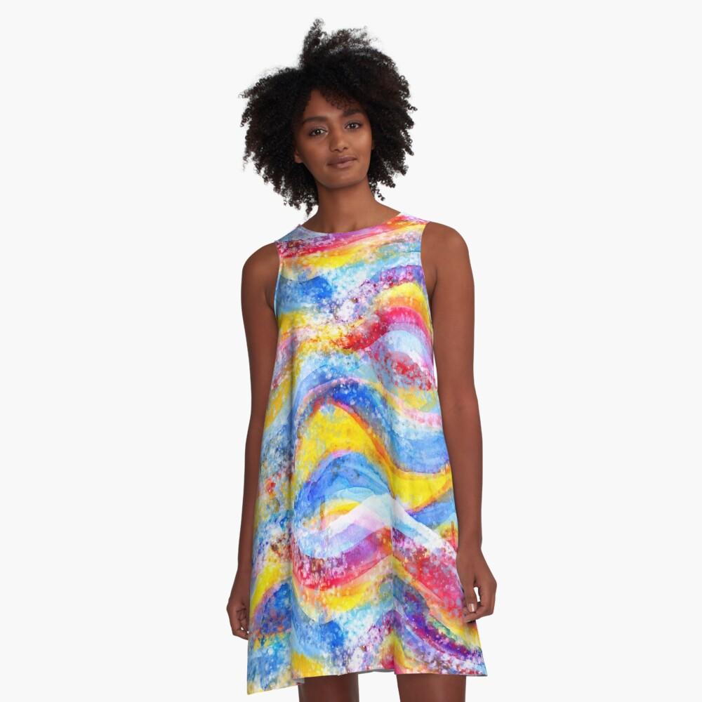 Rainbow waves watercolor A-Line Dress