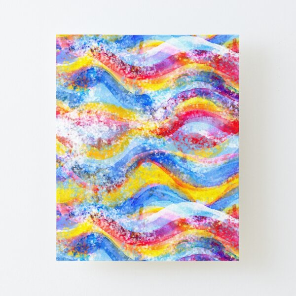 Rainbow waves watercolor Canvas Mounted Print