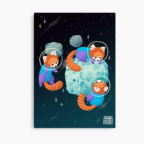 Red Space Pandas Canvas Print