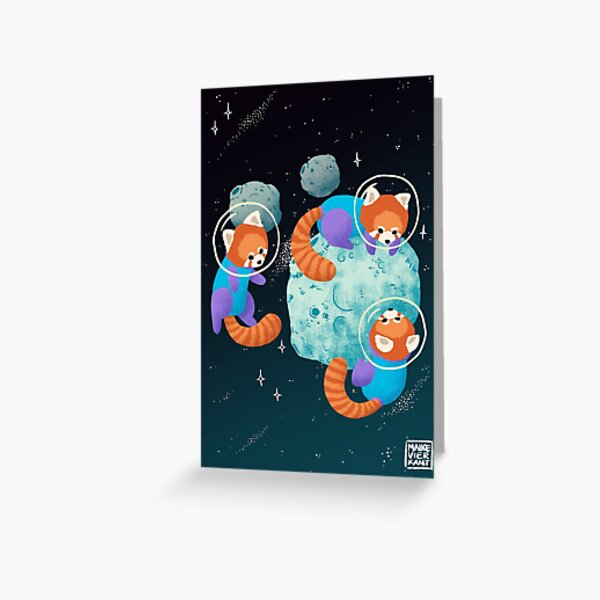 Red Space Pandas Greeting Card