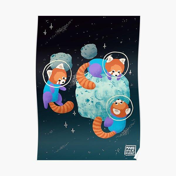 Red Space Pandas Poster