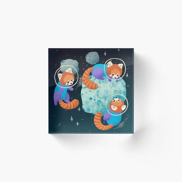 Red Space Pandas Acrylic Block