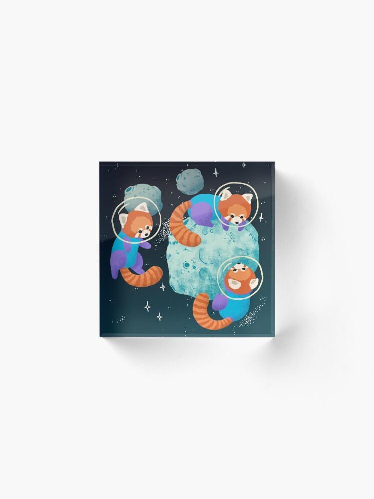 Alternate view of Red Space Pandas Acrylic Block