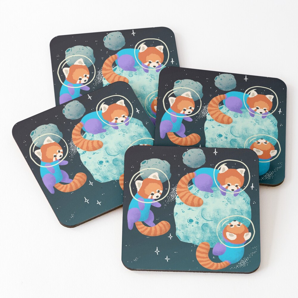 Red Space Pandas Coasters (Set of 4)