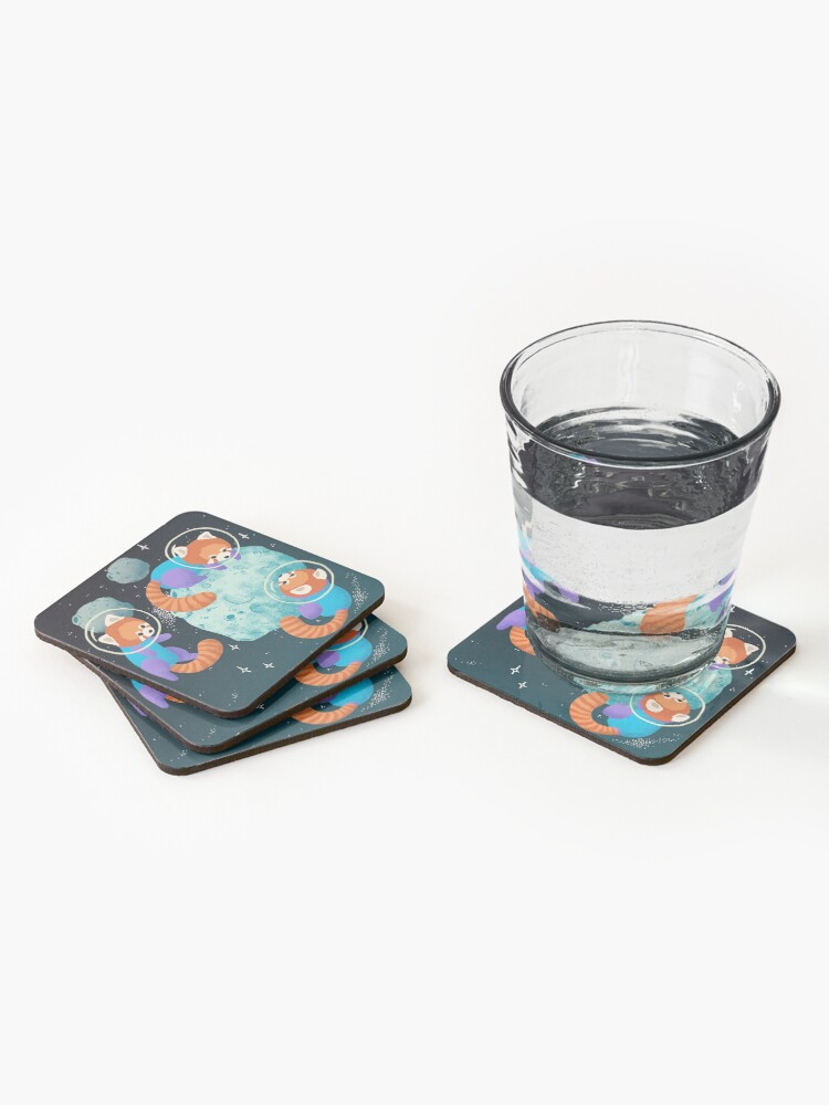 Alternate view of Red Space Pandas Coasters (Set of 4)