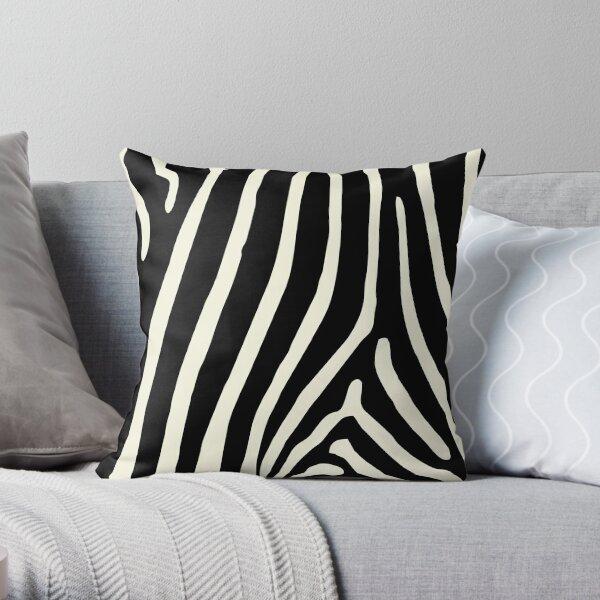 Zebra Print in Zebra Stripes Pattern Throw Pillow
