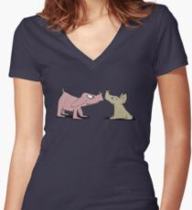 Bored Boars Women's Fitted V-Neck T-Shirt