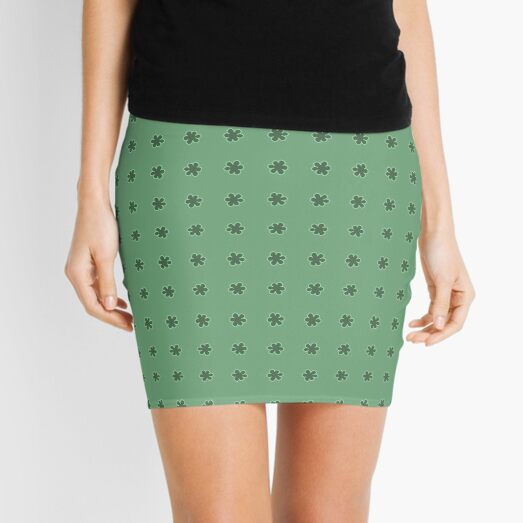 Flower Doodle LineArt Collection Seamless Surface Pattern Mini Skirt