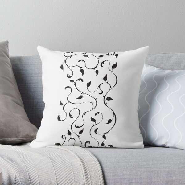 Filigree Vines in Black Throw Pillow